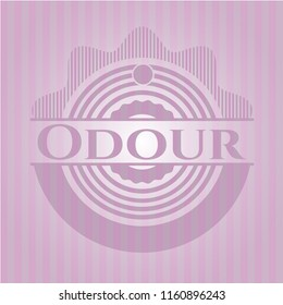 Odour badge with pink background