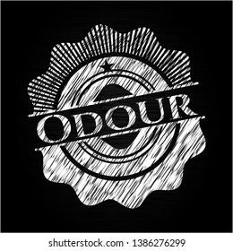 Odour chalkboard emblem on black board. Vector Illustration. Detailed.