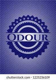 Odour emblem with jean background