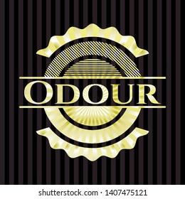 Odour gold badge. Vector Illustration. Detailed.