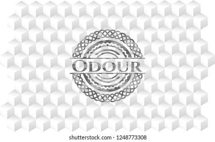 Odour grey emblem with geometric cube white background