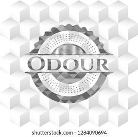 Odour grey emblem. Retro with geometric cube white background