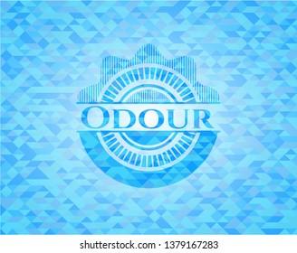 Odour light blue emblem with mosaic background