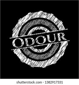 Odour on blackboard. Vector Illustration. Detailed.