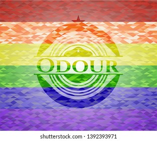 Odour on mosaic background with the colors of the LGBT flag