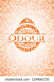 Odour orange tile background illustration. Square geometric mosaic seamless pattern with emblem inside.