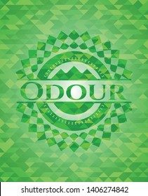 Odour realistic green mosaic emblem. Vector Illustration. Detailed.
