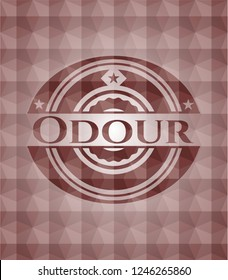 Odour red emblem with geometric pattern background. Seamless.