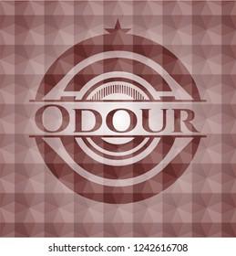 Odour red polygonal badge. Seamless.