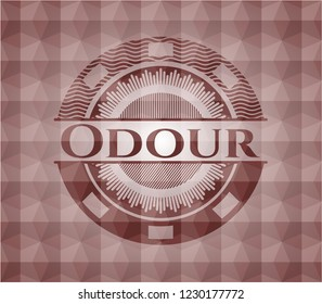 Odour red seamless badge with geometric background.
