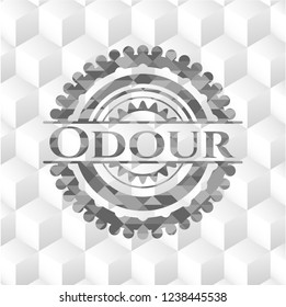 Odour retro style grey emblem with geometric cube white background