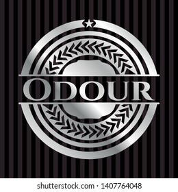 Odour silvery badge or emblem. Vector Illustration. Mosaic.