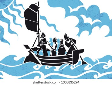 Odysseus and his companions. Ulysses. Odyssey, vector illustration