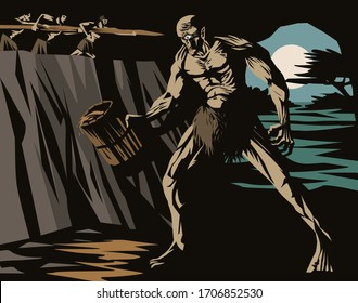 Odysseus and soldiers blinding polyphemus giant cyclops tale