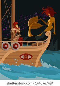 odysseus tied up with ropes in the ship passing the evil mermaid