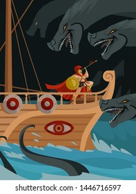 odysseus in a trireme passin near Charybdis and Scylla mythology sea monsters