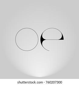 OE Black thin minimalist LOGO Design with Highlight on Gray background.