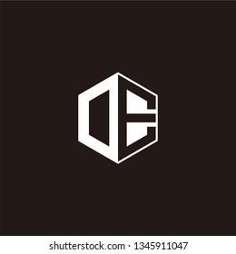OE or DE Logo Initial Monogram Negative Space Designs Templete
