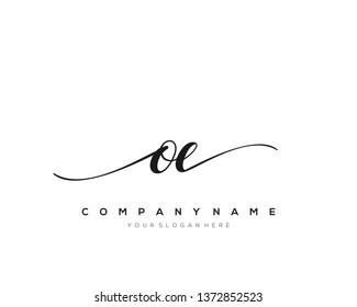 OE handwriting initial  logo vector