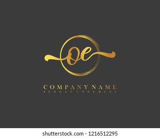 OE initial handwriting logo circle template vector