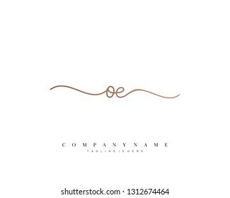 OE initial handwriting logo template vector