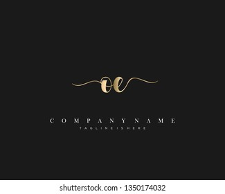 OE initial handwriting logo template with luxury color vector.