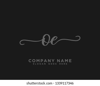 OE Initial Handwriting Logo Vector