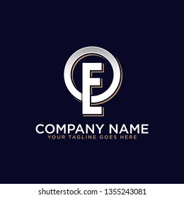 OE initial logo design, company brand in retro style, strong brand market