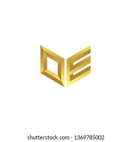 OE Logo letter initial 3d designs templete with gold colors