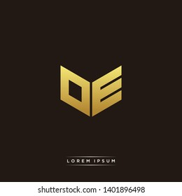OE Logo Letter Initial Logo Designs Templete with Gold and Black Background