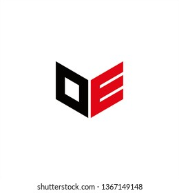 OE Logo Letter Initial With Red and Black Colors