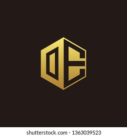 OE Logo Monogram with Negative space gold colors