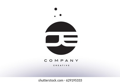 OE O E alphabet company letter logo design vector icon template simple black white circle dot dots creative abstract