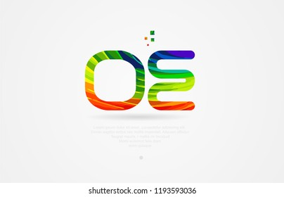 oe o e alphabet letter logo icon combination design with rainbow color