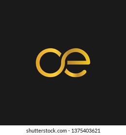 OE or O E letter alphabet logo design in vector format.