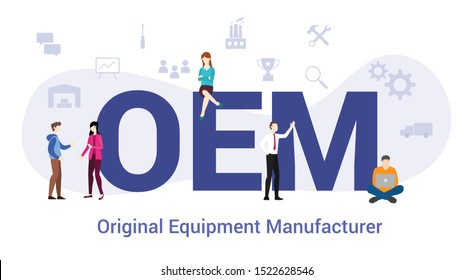 oem original equipment manufacturer concept with big word or text and team people with modern flat style - vector