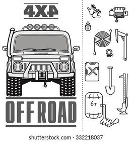 Off road 4x4 car truck equipment line draw icon set