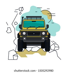 Off road car. Driving in mountains. 4x4 car. Editable vector illustration in bright colors. Exploration, travelling and touring concept. Outdoors adventure. Creative drawing. Graphic design.
