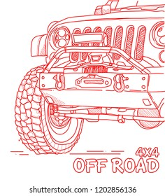 Off road car line art illustration . eps 10