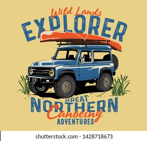 off road car and rivers canoe camp vector print for boy t shirt grunge effect in separate layer