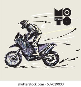 off road motorcycle. Sketch style vector illustration