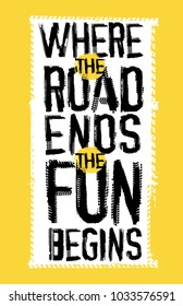 Off road quote lettering. Grunge words made from unique letters. Vector illustration useful for poster, print and T-shirt design. Editable graphic element in yellow, black and white colors.
