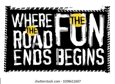 Off road quote lettering. Grunge words made from unique letters. Vector illustration useful for poster, print and T-shirt design. Editable graphic element in black, yellow and white colors.