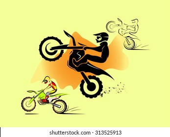 Off road sport Motorcycle. in sand hill. vector set illustration
