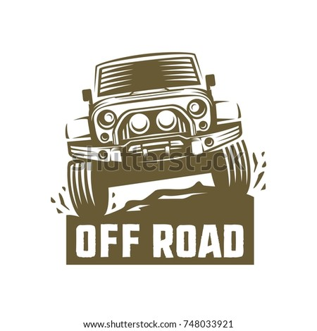 Off Road Suv Car Monochrome Template Stock Vector Royalty Free