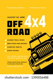Off road truck competition poster or flyer event modern typography design template and 4x4 suv car silhouette. Vector illustration.