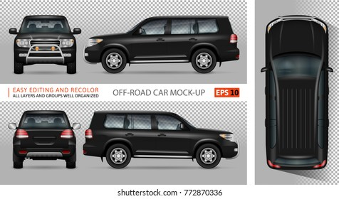 Off road truck vector mock-up for advertising, corporate identity. Isolated template of SUV car on transparent. Vehicle branding mockup. Easy to edit and recolor. View from side, front, back and top.
