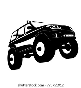 Off road vehicle car logo, vector illustration silhuette