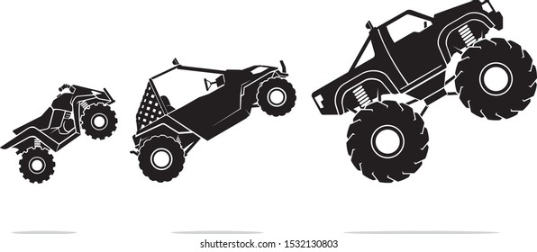 Off Road Vehicles, Mid Air Illustration