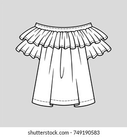 Off the shoulder blouse with ruffles and short sleeves. The spring-summer season. Technical flat sketch. Vector illustration.